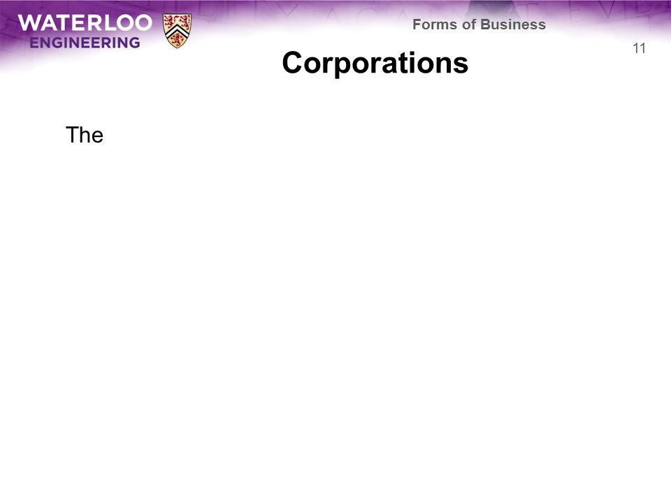 Corporations The 11 Forms of Business
