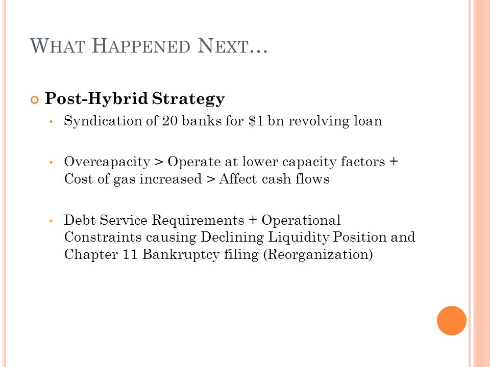 W HAT H APPENED N EXT … Post-Hybrid Strategy Syndication of 20 banks for $1 bn revolving loan Overcapacity > Operate at lower capacity factors + Cost