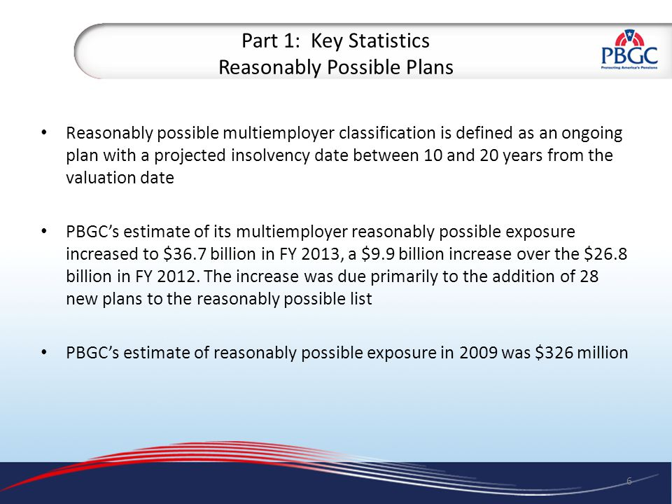 Part 1: Key Statistics Reasonably Possible Plans 7