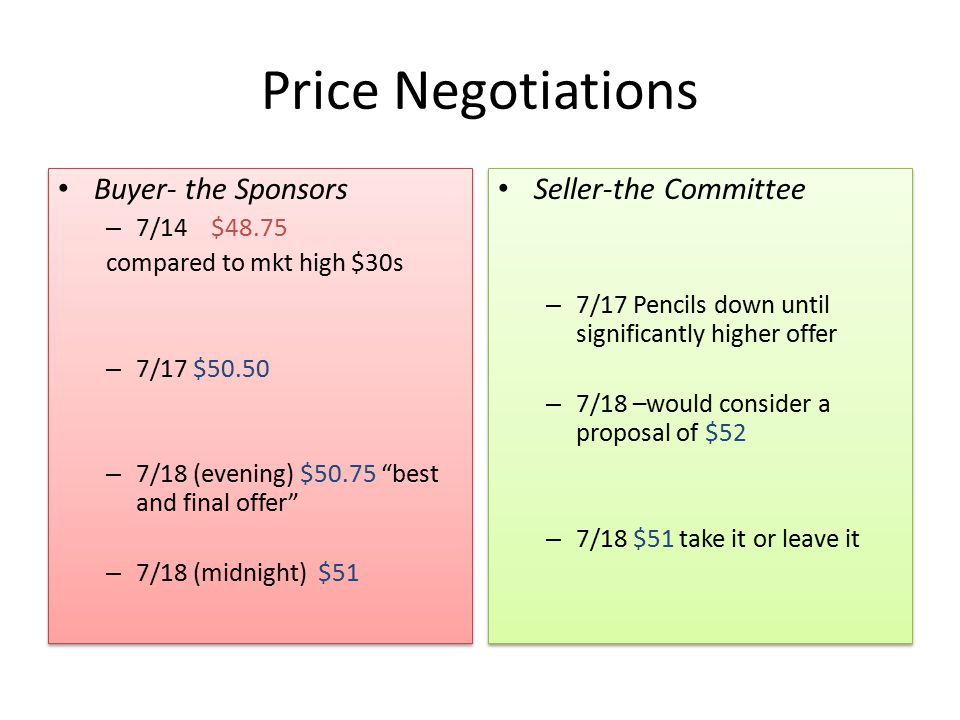 "Price Negotiations Buyer- the Sponsors – 7/14 $48.75 compared to mkt high $30s – 7/17 $50.50 – 7/18 (evening) $50.75 ""best and final offer"" – 7/18 (mi"