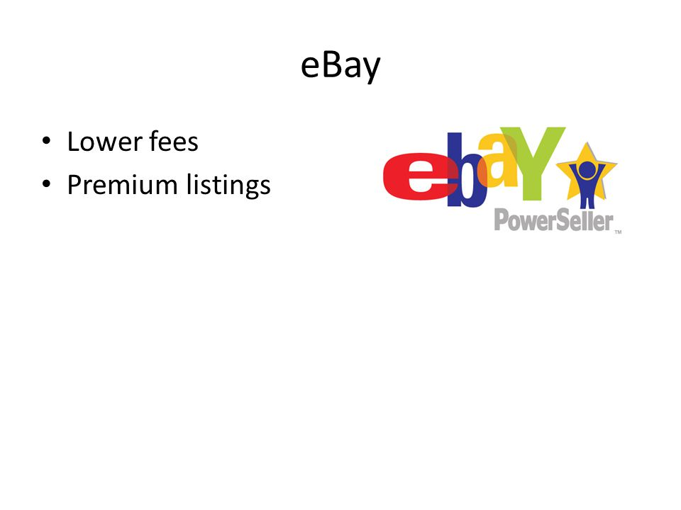 eBay Lower fees Premium listings