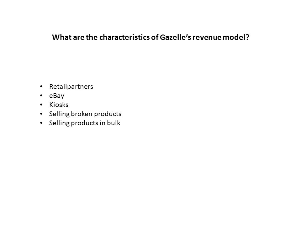 What are the characteristics of Gazelle's revenue model.