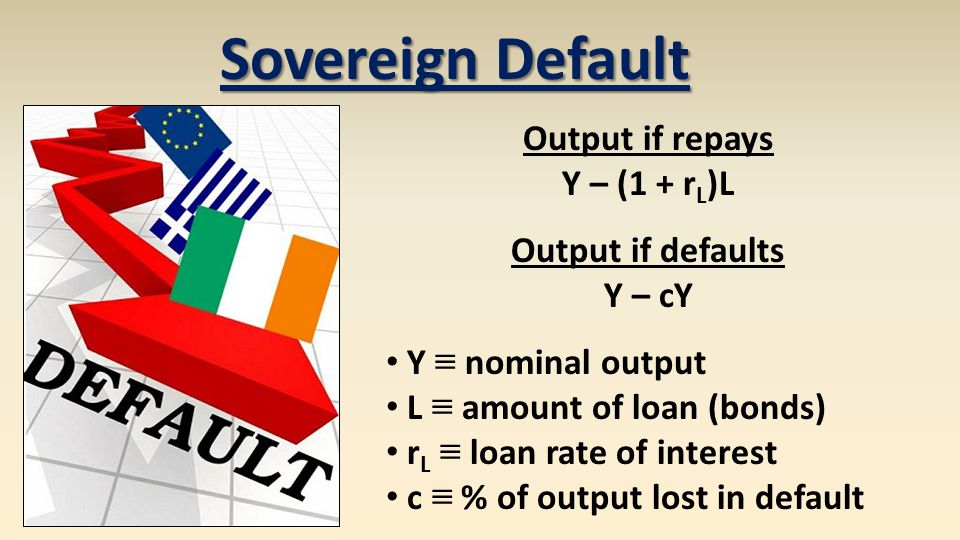 Sovereign Default Output if repays Y – (1 + r L )L Output if defaults Y – cY Y ≡ nominal output L ≡ amount of loan (bonds) r L ≡ loan rate of interest c ≡ % of output lost in default