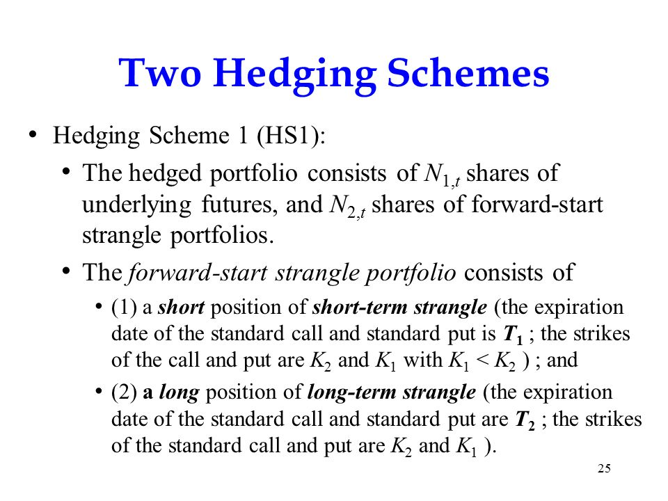 Two Hedging Schemes Hedging Scheme 1 (HS1): The hedged portfolio consists of N 1,t shares of underlying futures, and N 2,t shares of forward-start strangle portfolios.