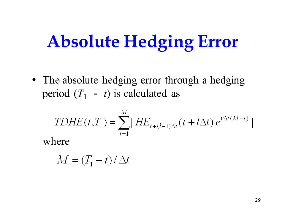 Absolute Hedging Error The absolute hedging error through a hedging period (T 1 - t) is calculated as where 29