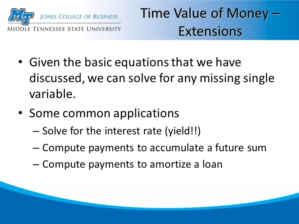 Time Value of Money – Extensions Given the basic equations that we have discussed, we can solve for any missing single variable.