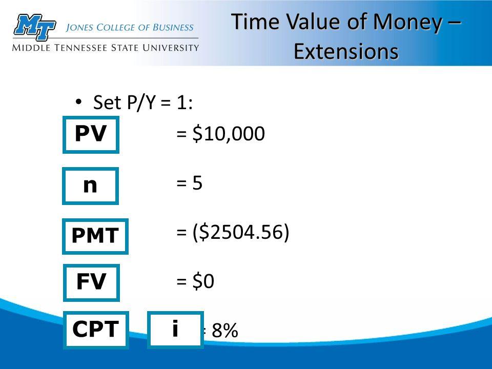 Time Value of Money – Extensions Set P/Y = 1: = $10,000 = 5 = ($2504.56) = $0 = 8% n CPT i FV PV PMT