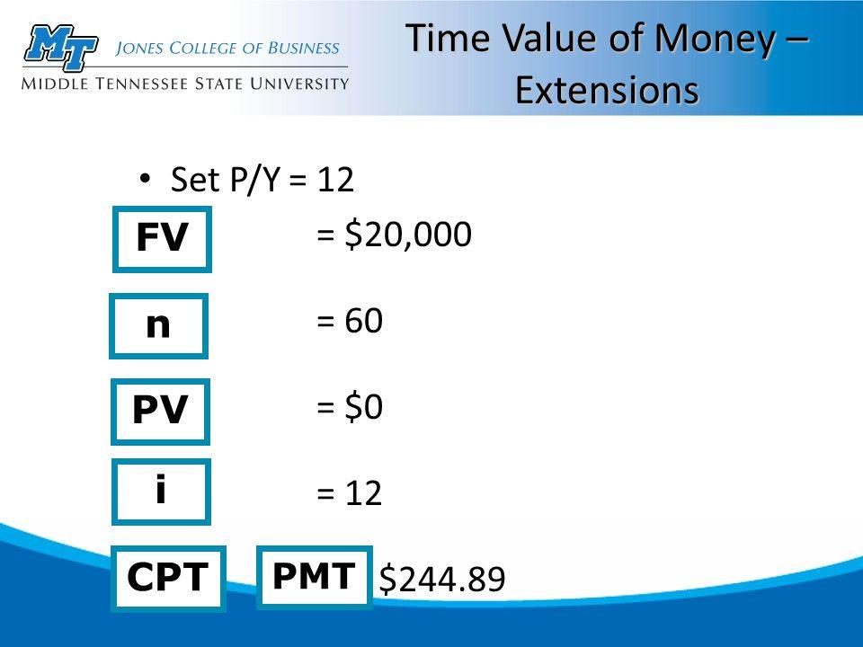 Time Value of Money – Extensions Set P/Y = 12 = $20,000 = 60 = $0 = 12 = $244.89 n i CPT PV PMT FV