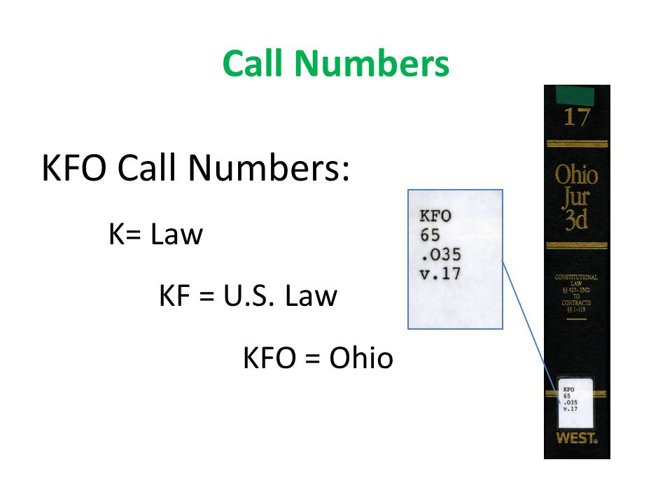 Call Numbers KFO Call Numbers: K= Law KF = U.S. Law KFO = Ohio