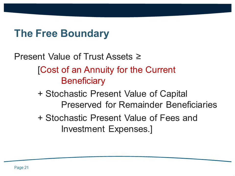 Page 21 Present Value of Trust Assets ≥ [Cost of an Annuity for the Current Beneficiary + Stochastic Present Value of Capital Preserved for Remainder Beneficiaries + Stochastic Present Value of Fees and Investment Expenses.] The Free Boundary