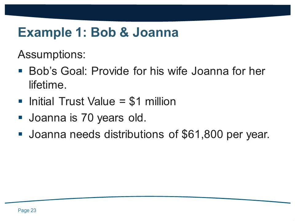 Page 23 Assumptions:  Bob's Goal: Provide for his wife Joanna for her lifetime.
