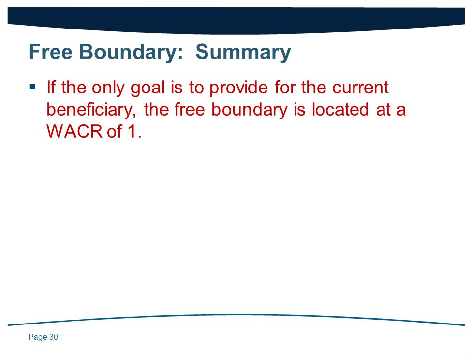 Page 30  If the only goal is to provide for the current beneficiary, the free boundary is located at a WACR of 1.