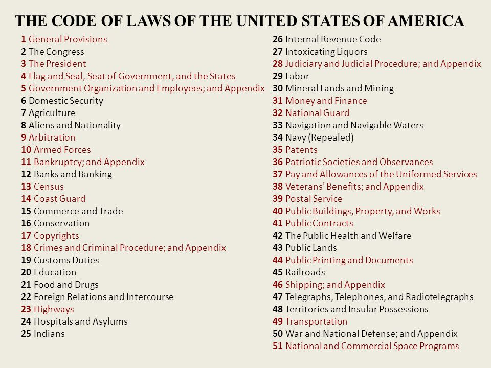 1 General Provisions 2 The Congress 3 The President 4 Flag and Seal, Seat of Government, and the States 5 Government Organization and Employees; and Appendix 6 Domestic Security 7 Agriculture 8 Aliens and Nationality 9 Arbitration 10 Armed Forces 11 Bankruptcy; and Appendix 12 Banks and Banking 13 Census 14 Coast Guard 15 Commerce and Trade 16 Conservation 17 Copyrights 18 Crimes and Criminal Procedure; and Appendix 19 Customs Duties 20 Education 21 Food and Drugs 22 Foreign Relations and Intercourse 23 Highways 24 Hospitals and Asylums 25 Indians 26 Internal Revenue Code 27 Intoxicating Liquors 28 Judiciary and Judicial Procedure; and Appendix 29 Labor 30 Mineral Lands and Mining 31 Money and Finance 32 National Guard 33 Navigation and Navigable Waters 34 Navy (Repealed) 35 Patents 36 Patriotic Societies and Observances 37 Pay and Allowances of the Uniformed Services 38 Veterans Benefits; and Appendix 39 Postal Service 40 Public Buildings, Property, and Works 41 Public Contracts 42 The Public Health and Welfare 43 Public Lands 44 Public Printing and Documents 45 Railroads 46 Shipping; and Appendix 47 Telegraphs, Telephones, and Radiotelegraphs 48 Territories and Insular Possessions 49 Transportation 50 War and National Defense; and Appendix 51 National and Commercial Space Programs THE CODE OF LAWS OF THE UNITED STATES OF AMERICA