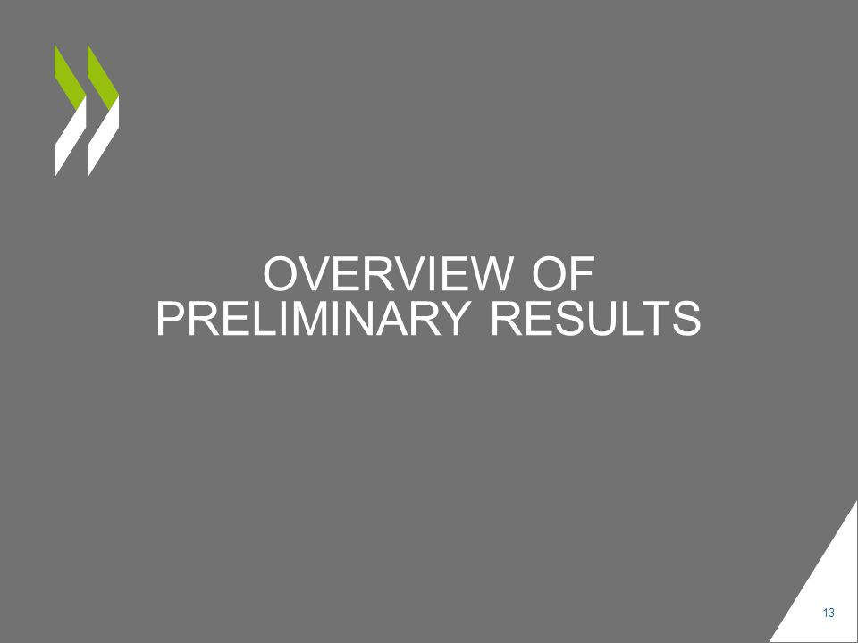 OVERVIEW OF PRELIMINARY RESULTS 13