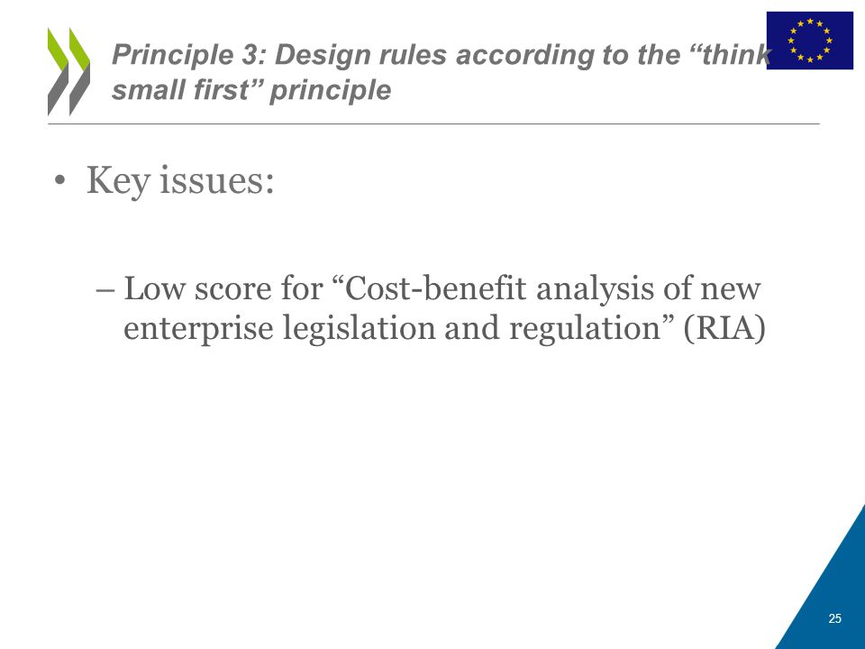 "Key issues: – Low score for ""Cost-benefit analysis of new enterprise legislation and regulation"" (RIA) Principle 3: Design rules according to the ""thi"