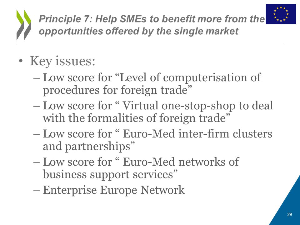 "Key issues: – Low score for ""Level of computerisation of procedures for foreign trade"" – Low score for "" Virtual one-stop-shop to deal with the formal"