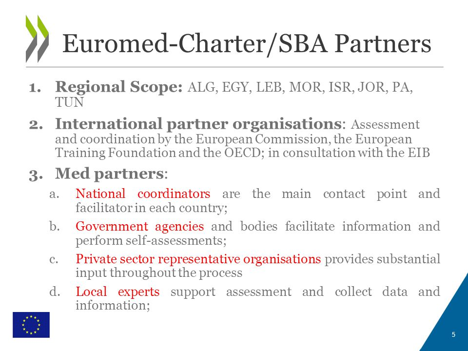 WITH THE FINANCIAL SUPPORT OF THE EUROPEAN UNION Euromed-Charter/SBA Partners 5 1.Regional Scope: ALG, EGY, LEB, MOR, ISR, JOR, PA, TUN 2.International partner organisations: Assessment and coordination by the European Commission, the European Training Foundation and the OECD; in consultation with the EIB 3.Med partners: a.National coordinators are the main contact point and facilitator in each country; b.Government agencies and bodies facilitate information and perform self-assessments; c.Private sector representative organisations provides substantial input throughout the process d.Local experts support assessment and collect data and information;