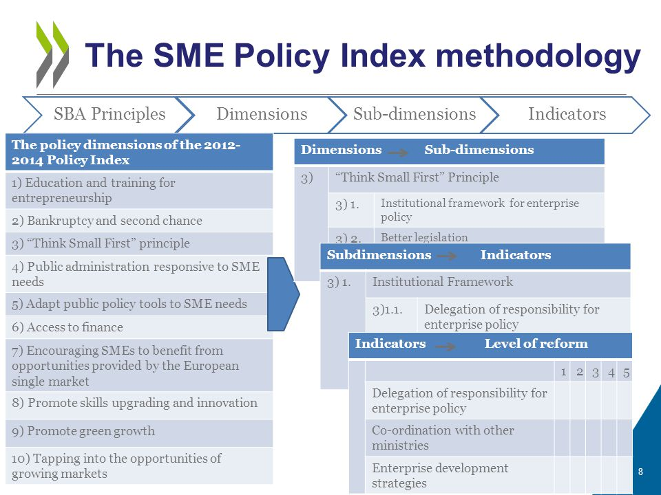 The SME Policy Index methodology 8 SBA PrinciplesDimensionsSub-dimensionsIndicators The policy dimensions of the 2012- 2014 Policy Index 1) Education and training for entrepreneurship 2) Bankruptcy and second chance 3) Think Small First principle 4) Public administration responsive to SME needs 5) Adapt public policy tools to SME needs 6) Access to finance 7) Encouraging SMEs to benefit from opportunities provided by the European single market 8) Promote skills upgrading and innovation 9) Promote green growth 10) Tapping into the opportunities of growing markets Dimensions Sub-dimensions 3) Think Small First Principle 3) 1.