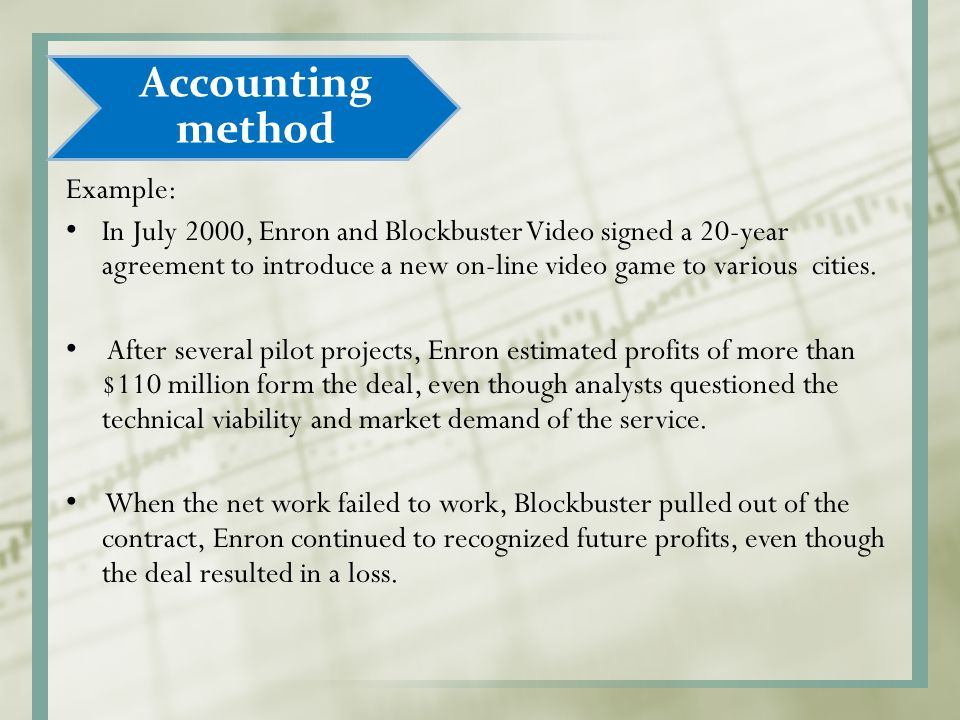 Example: In July 2000, Enron and Blockbuster Video signed a 20-year agreement to introduce a new on-line video game to various cities. After several p