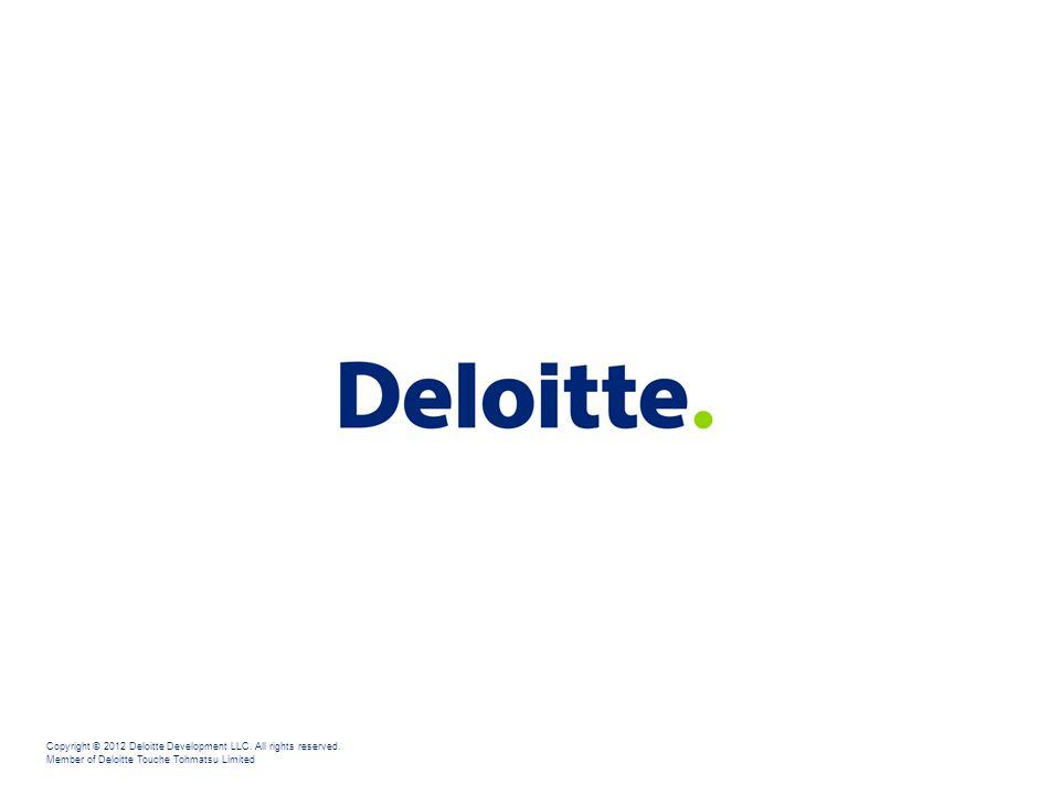 Copyright © 2012 Deloitte Development LLC. All rights reserved. Member of Deloitte Touche Tohmatsu Limited