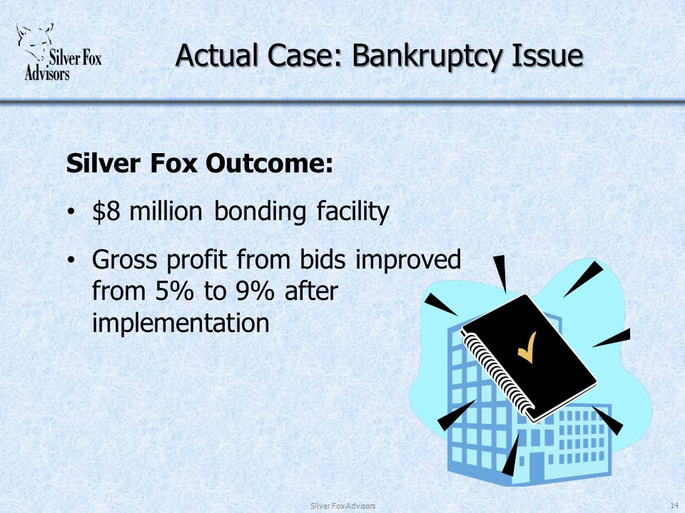 Actual Case: Bankruptcy Issue Silver Fox Outcome: $8 million bonding facility Gross profit from bids improved from 5% to 9% after implementation Silver Fox Advisors 14