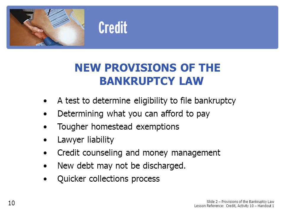 NEW PROVISIONS OF THE BANKRUPTCY LAW A test to determine eligibility to file bankruptcy Determining what you can afford to pay Tougher homestead exemptions Lawyer liability Credit counseling and money management New debt may not be discharged.