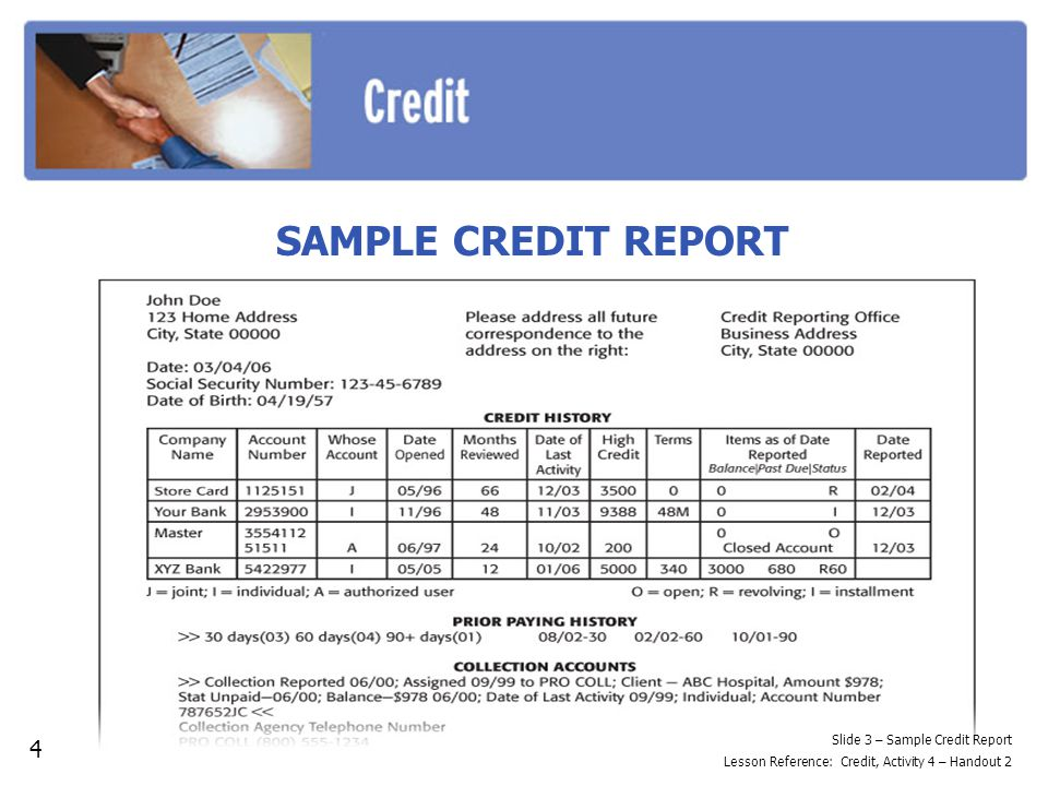 SAMPLE CREDIT REPORT 4 Slide 3 – Sample Credit Report Lesson Reference: Credit, Activity 4 – Handout 2