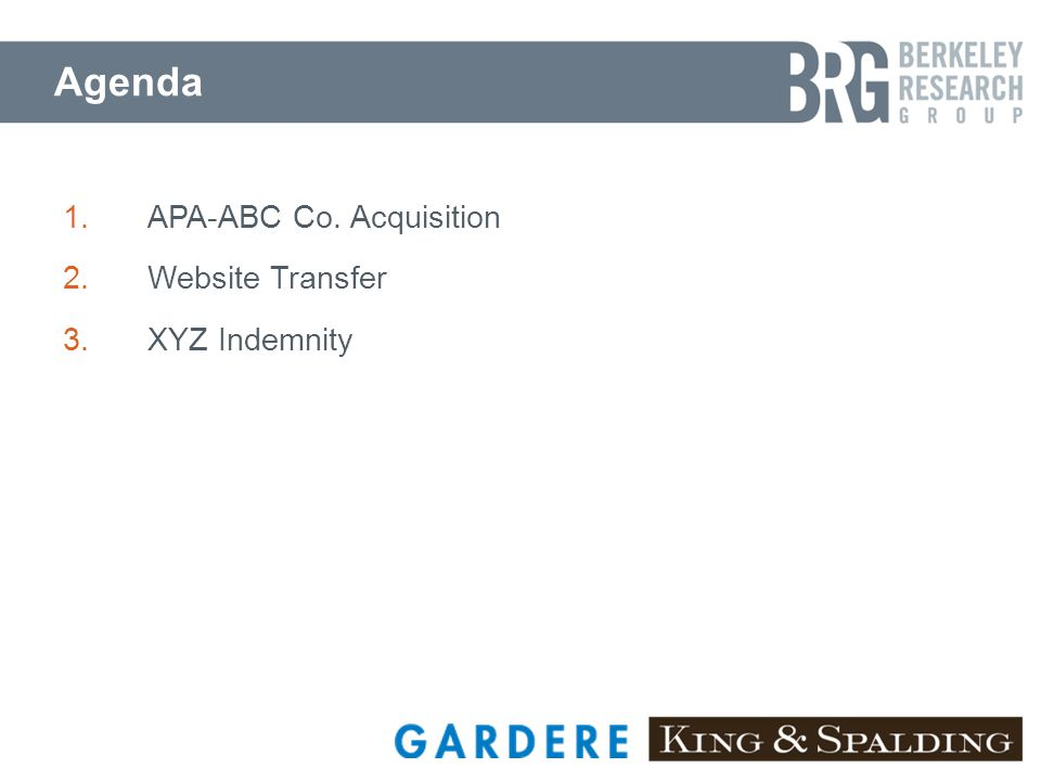 Agenda 1.APA-ABC Co. Acquisition 2.Website Transfer 3.XYZ Indemnity