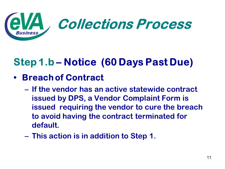 11 Collections Process Step 1.b – Notice (60 Days Past Due) Breach of Contract –If the vendor has an active statewide contract issued by DPS, a Vendor