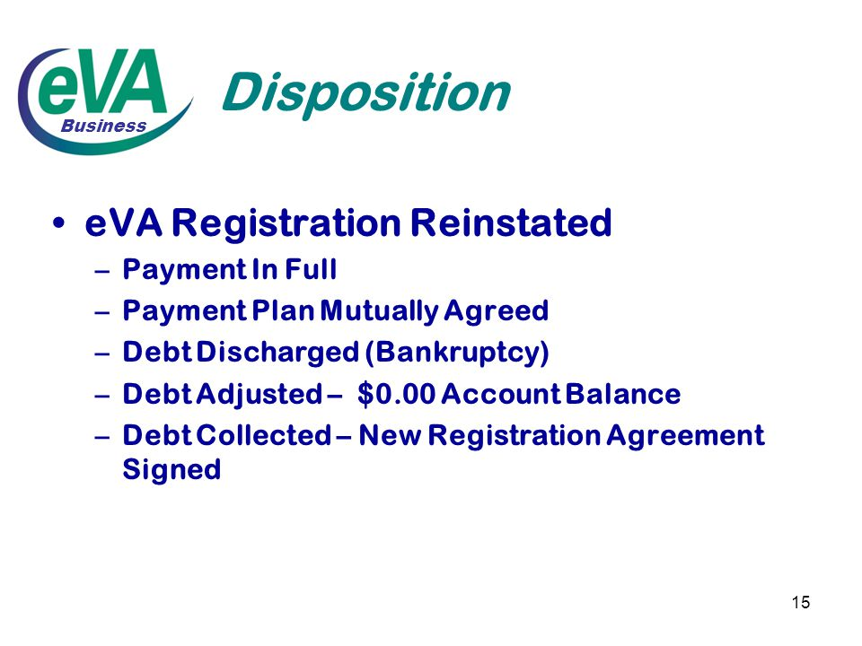 15 Disposition eVA Registration Reinstated –Payment In Full –Payment Plan Mutually Agreed –Debt Discharged (Bankruptcy) –Debt Adjusted – $0.00 Account