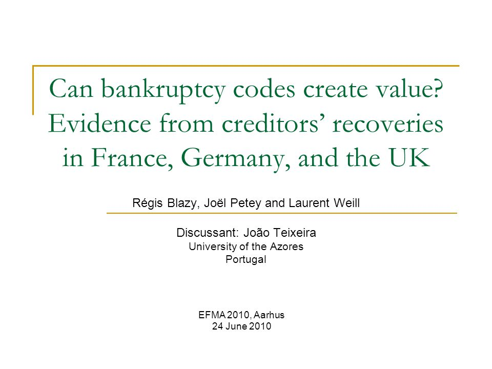 Can bankruptcy codes create value.