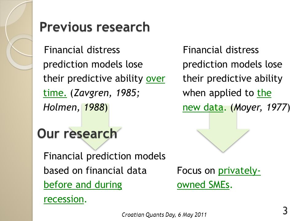 Financial distress We consider the problem of modeling financial distress of privately-owned SMEs.