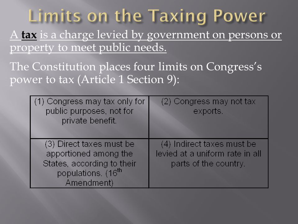 A tax is a charge levied by government on persons or property to meet public needs. The Constitution places four limits on Congress's power to tax (Ar