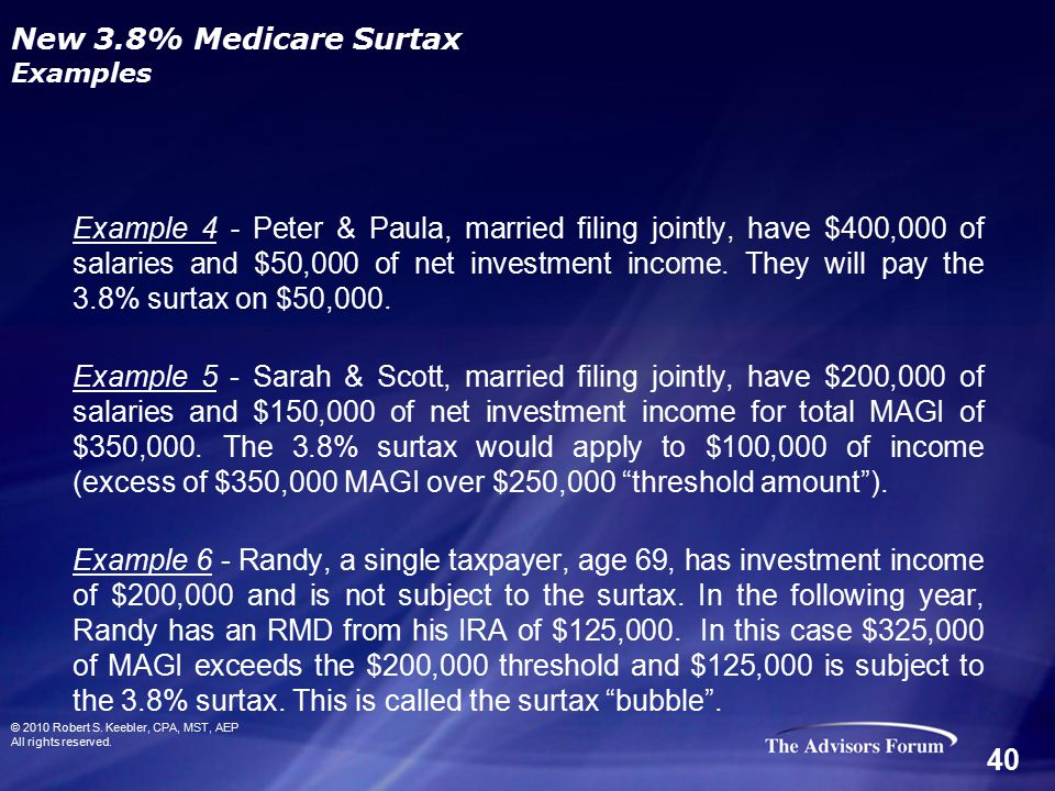 © 2010 Robert S. Keebler, CPA, MST, AEP All rights reserved. New 3.8% Medicare Surtax Examples Example 4 - Peter & Paula, married filing jointly, have