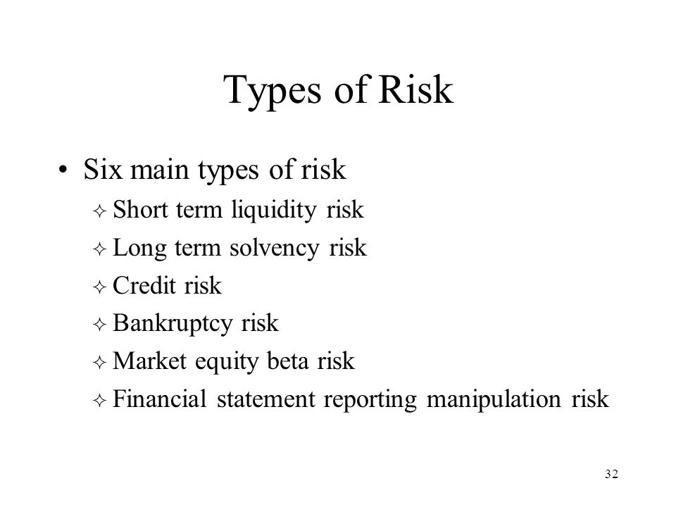 32 Types of Risk Six main types of risk  Short term liquidity risk  Long term solvency risk  Credit risk  Bankruptcy risk  Market equity beta ris