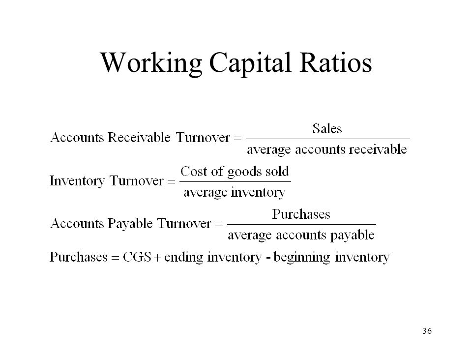 36 Working Capital Ratios