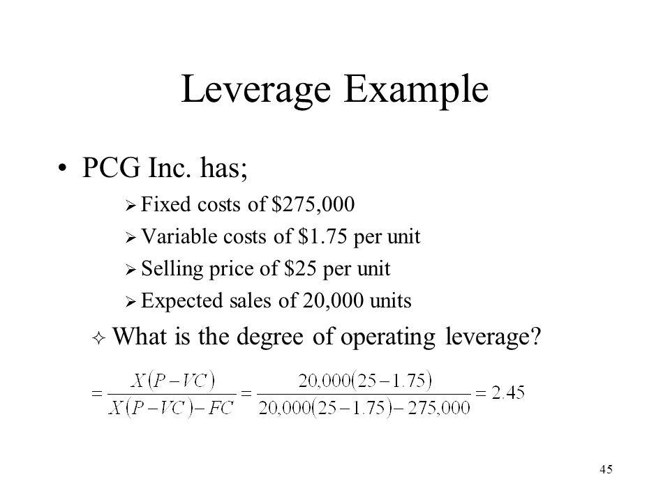 45 Leverage Example PCG Inc.