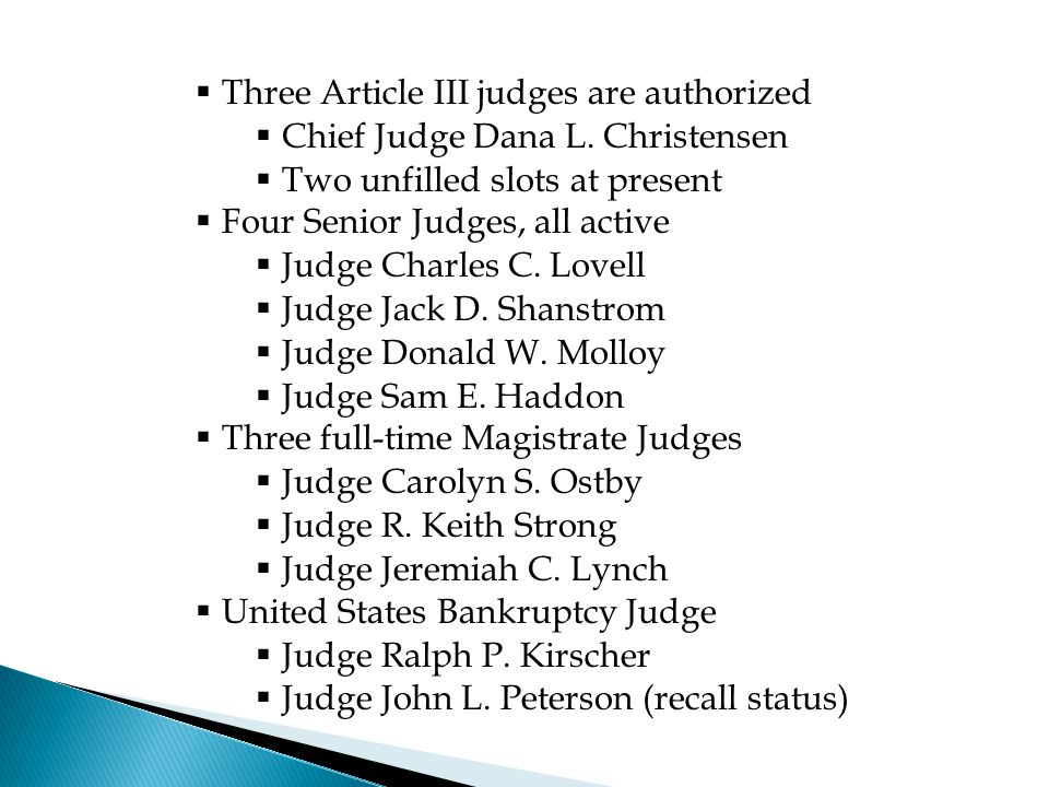  Three Article III judges are authorized  Chief Judge Dana L. Christensen  Two unfilled slots at present  Four Senior Judges, all active  Judge C
