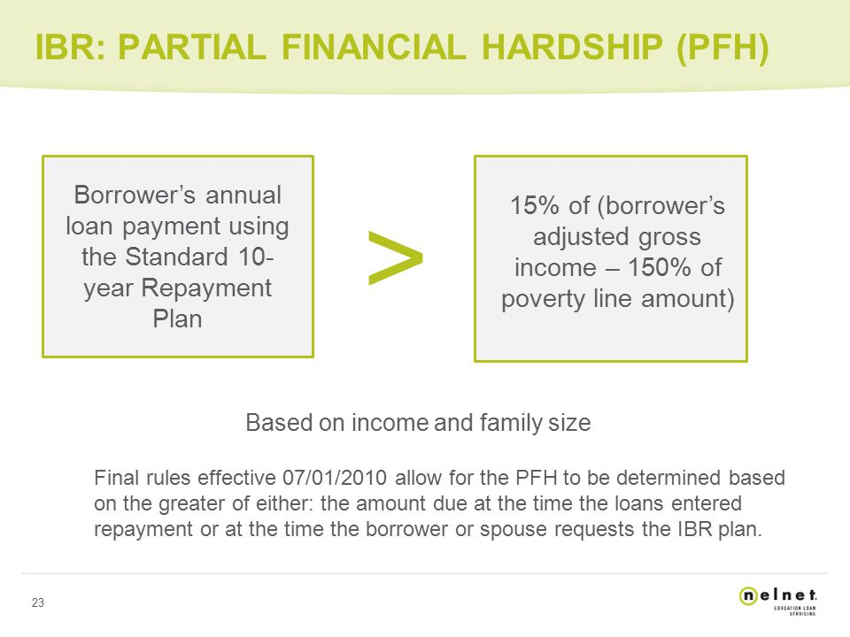 23 IBR: PARTIAL FINANCIAL HARDSHIP (PFH) Based on income and family size Final rules effective 07/01/2010 allow for the PFH to be determined based on the greater of either: the amount due at the time the loans entered repayment or at the time the borrower or spouse requests the IBR plan.