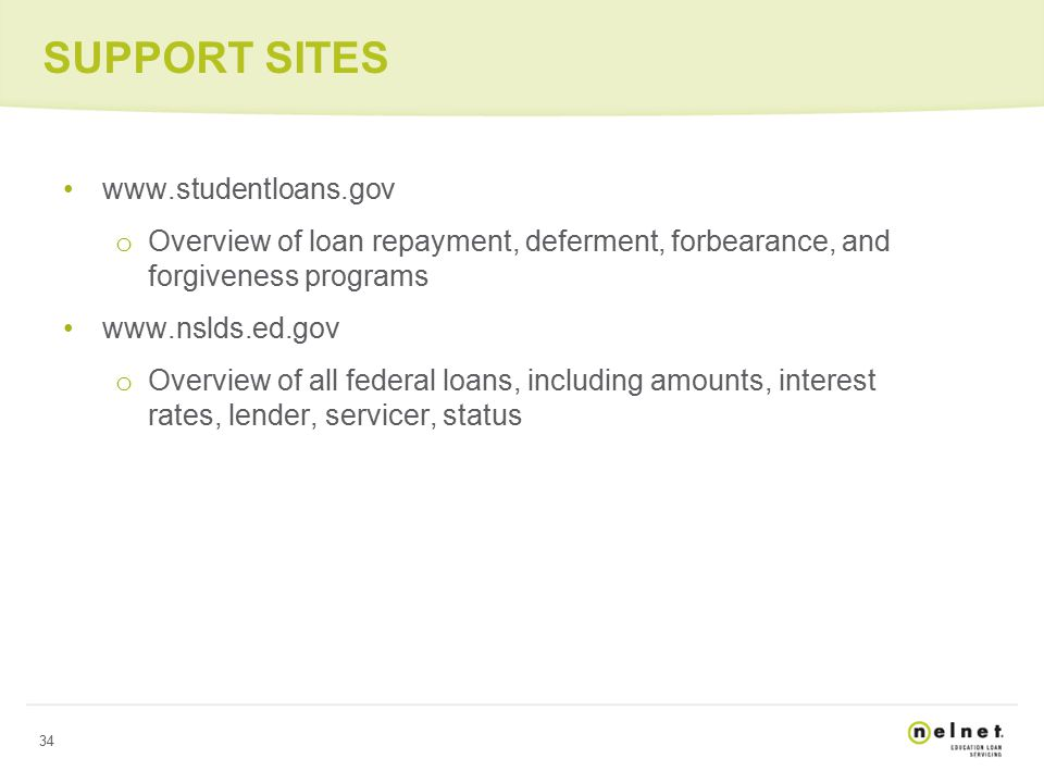 34 SUPPORT SITES www.studentloans.gov o Overview of loan repayment, deferment, forbearance, and forgiveness programs www.nslds.ed.gov o Overview of all federal loans, including amounts, interest rates, lender, servicer, status