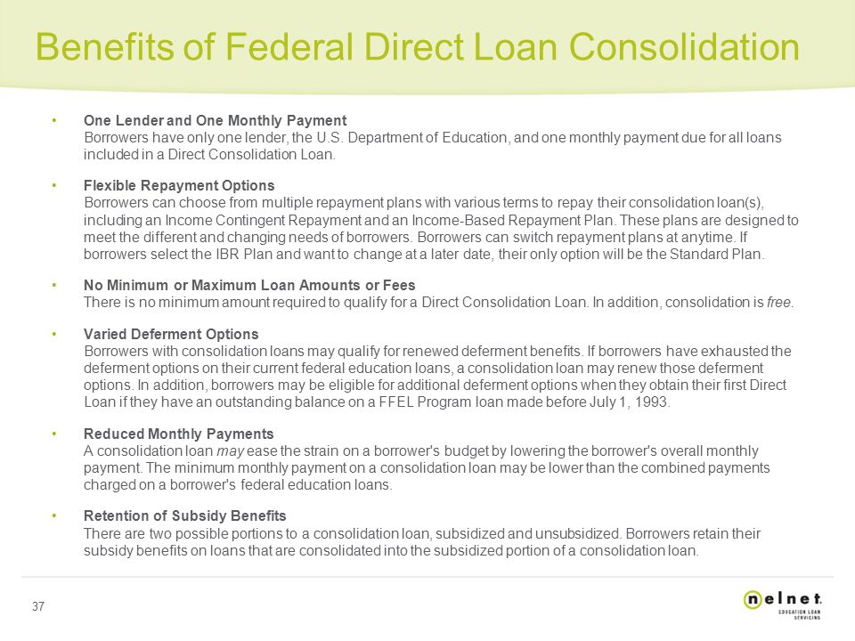 Consolidating into direct loan program