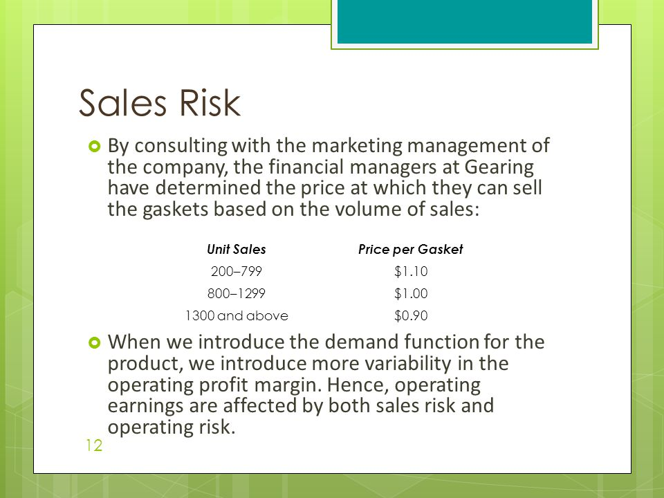  By consulting with the marketing management of the company, the financial managers at Gearing have determined the price at which they can sell the gaskets based on the volume of sales:  When we introduce the demand function for the product, we introduce more variability in the operating profit margin.