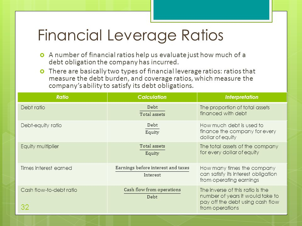  A number of financial ratios help us evaluate just how much of a debt obligation the company has incurred.