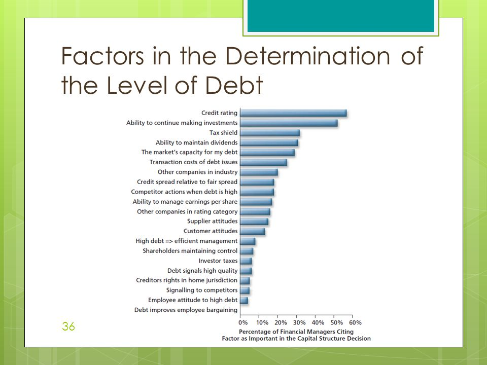 Factors in the Determination of the Level of Debt 36