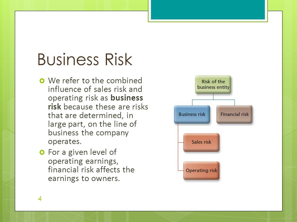 Business Risk  We refer to the combined influence of sales risk and operating risk as business risk because these are risks that are determined, in l