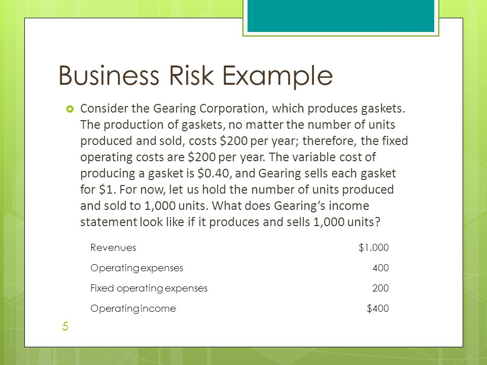 Business Risk Example  Consider the Gearing Corporation, which produces gaskets. The production of gaskets, no matter the number of units produced an