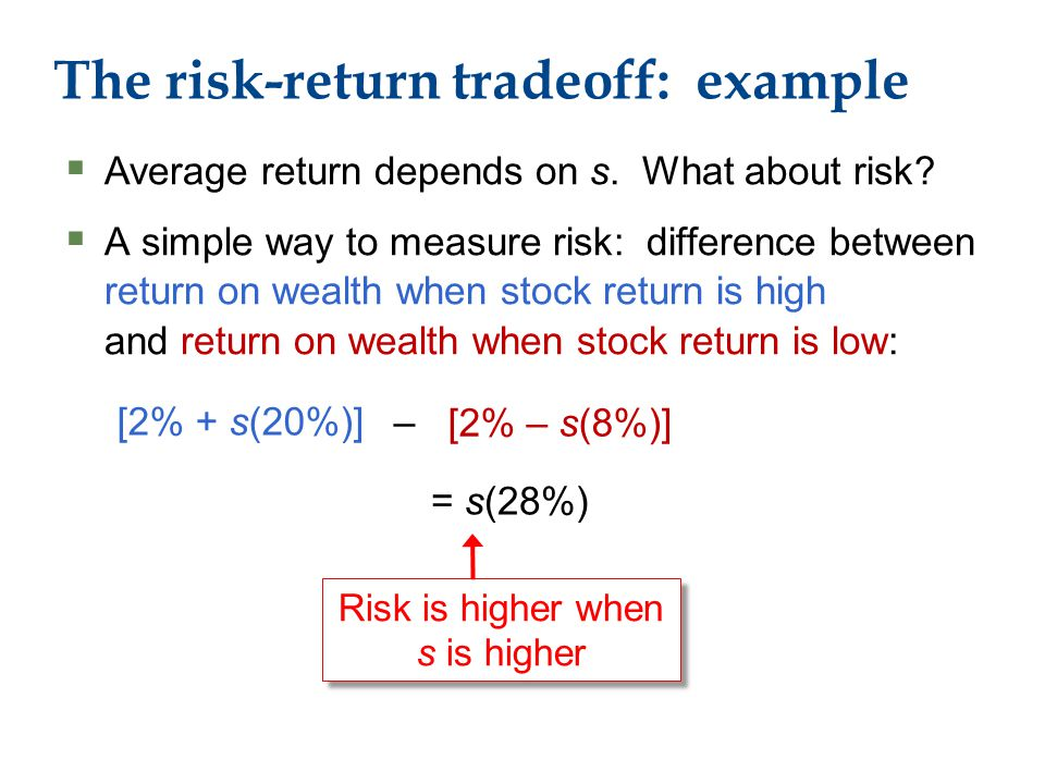 The risk-return tradeoff: example  Average return depends on s.