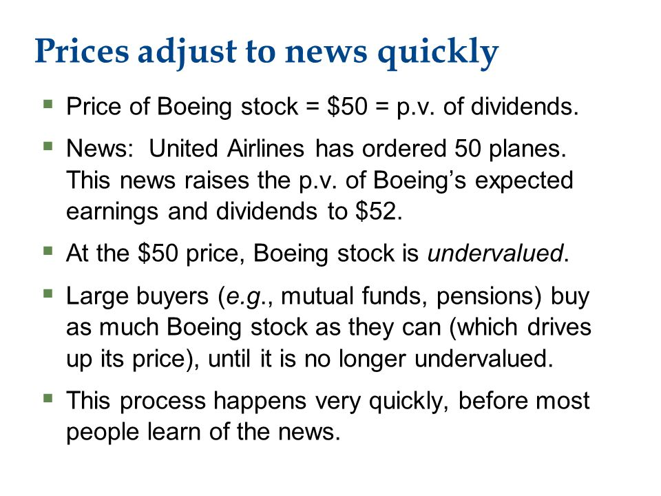 Prices adjust to news quickly  Price of Boeing stock = $50 = p.v.