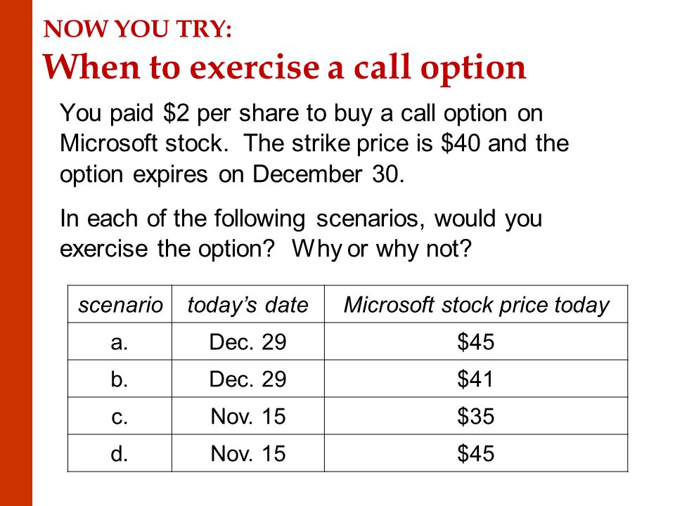 NOW YOU TRY: When to exercise a call option You paid $2 per share to buy a call option on Microsoft stock.