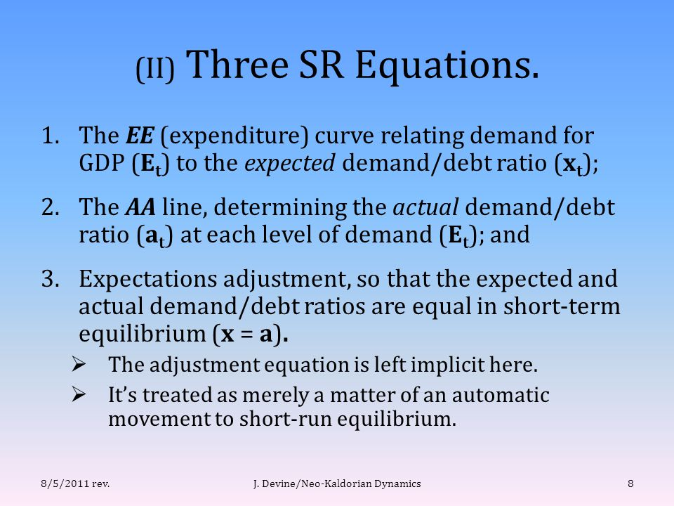 (II) Three SR Equations.
